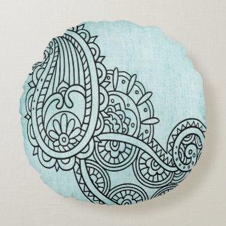 Almohada redonda del adorno de Mehndi de la Cojín Redondo