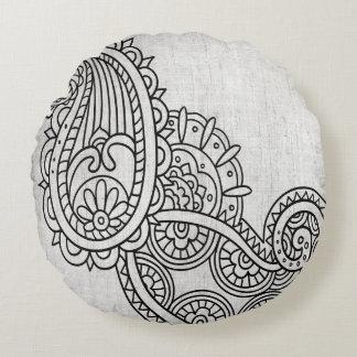 Almohada redonda del adorno gris de Mehndi Cojín Redondo