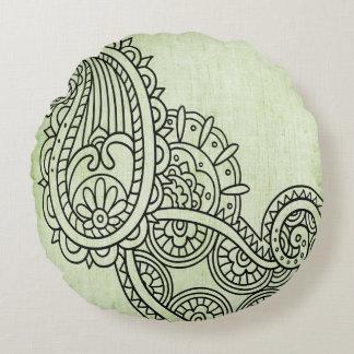 Almohada redonda del adorno verde de Mehndi Cojín Redondo