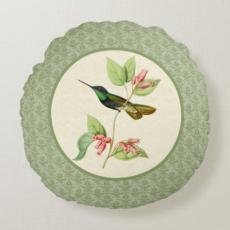 Almohada redonda del damasco magnífico del colibrí cojín redondo