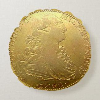 Almohada redonda del doblón español del oro cojín redondo
