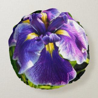 Almohada redonda del iris púrpura soleado cojín redondo