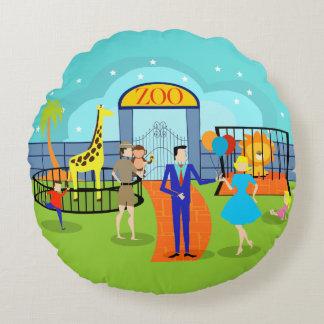 Almohada redonda del parque zoológico del vintage cojín redondo
