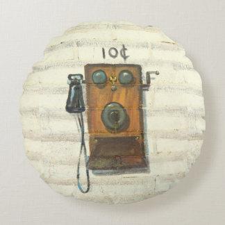 almohada redonda del teléfono de pago antiguo cojín redondo