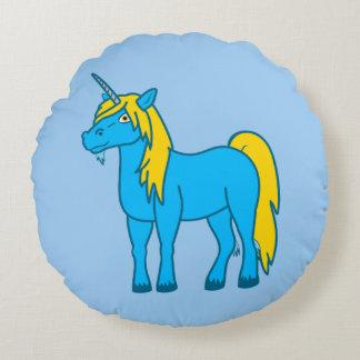Almohada redonda del unicornio azul cojín redondo