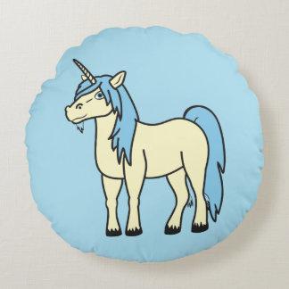 Almohada redonda del unicornio de los azules cojín redondo