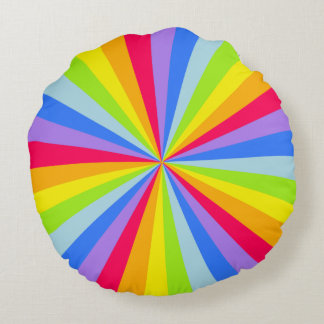 Almohada redonda radial del arco iris brillante cojín redondo