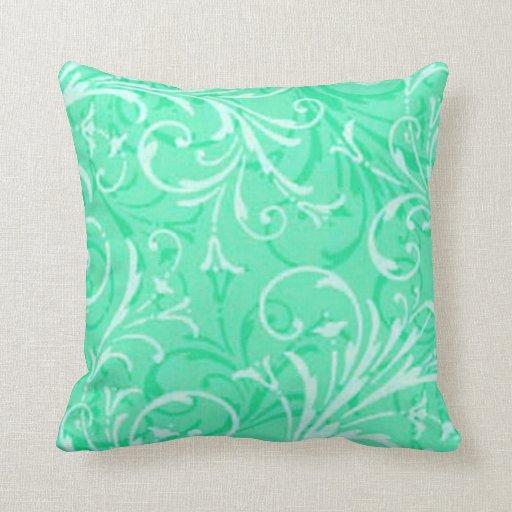 Almohada reversible ornamental de la verde menta