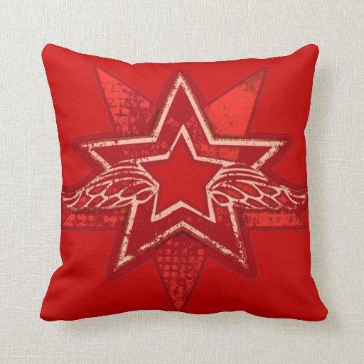 Almohada roja brillante de la estrella angelical