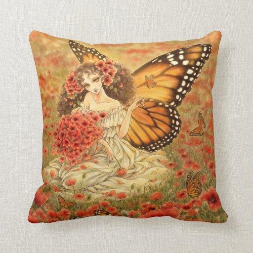 Almohada roja de la fantasía de la amapola