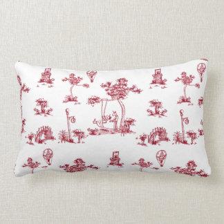 Almohada roja de Toile del unicornio Cojín Lumbar
