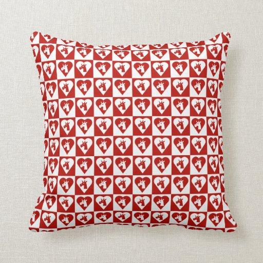 Almohada roja del corazón del unicornio