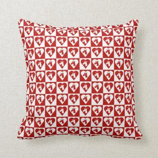 Almohada roja del corazón del unicornio cojín decorativo