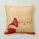 Almohada roja del gramófono del vintage