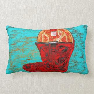 Almohada roja del Lumbar de la bota de vaquero