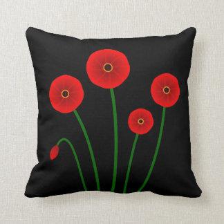 Almohada roja moderna del acento de las amapolas