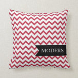 Almohada roja moderna del zigzag