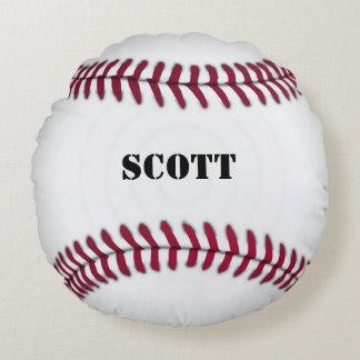Almohada roja y blanca de encargo del béisbol cojín redondo