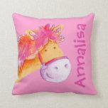 Almohada rosada anaranjada del potro de los chicas