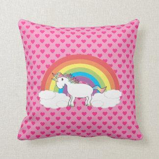 Almohada rosada del arco iris del unicornio del co