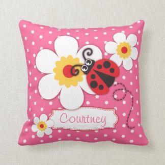 Almohada rosada del lunar de la flor del nombre de cojín decorativo