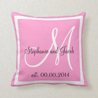 almohada rosada del recuerdo del boda