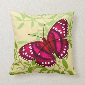 Almohada rosada magenta tropical de la mariposa