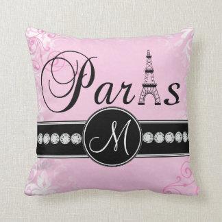 Almohada rosada suave del monograma de París del Cojín Decorativo