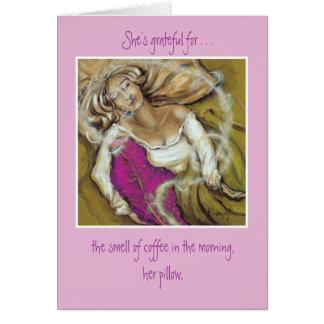 Almohada rosada tarjeta pequeña