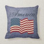 Almohada rústica de la bandera americana