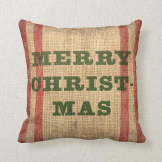 Almohada rústica de las Felices Navidad de la Arpi