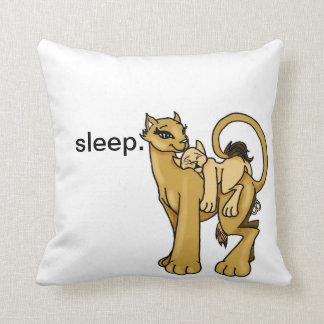 Almohada soñolienta del tiempo con el león y el ca