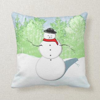Almohada sonriente del muñeco de nieve