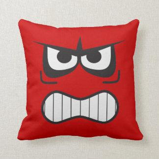 Almohada sonriente furiosa enojada de la cara de