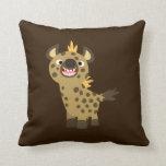 Almohada sonriente linda del Hyena del dibujo anim