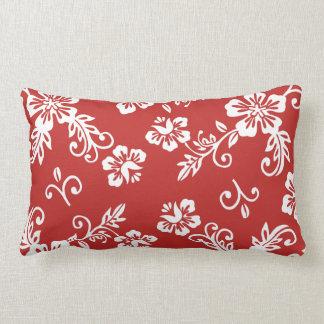Almohada tropical roja de la impresión
