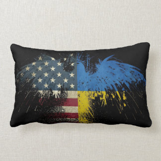 Almohada ucraniana americana de las banderas