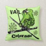 Almohada verde de neón del esquiador del tema de V