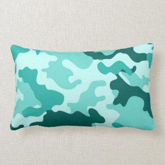 Almohada verde del Lumbar de Camo de la turquesa