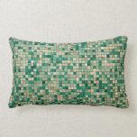 Almohada verde del Lumbar del diseño del mosaico