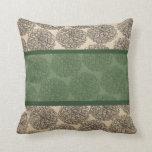 Almohada verde del Zinnia del vintage