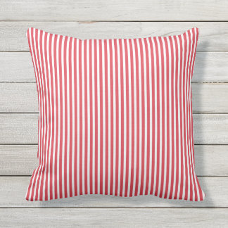 Almohadas al aire libre rojas de la amapola - raya cojín decorativo