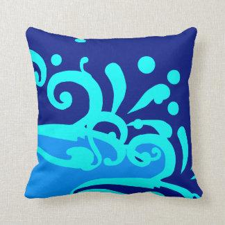 Almohadas azules de la onda