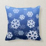 Almohadas azules del copo de nieve