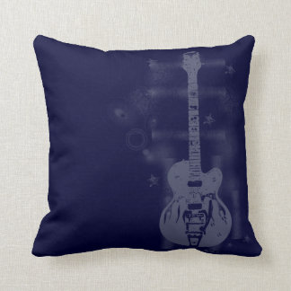 Almohadas azules gráficas de la guitarra