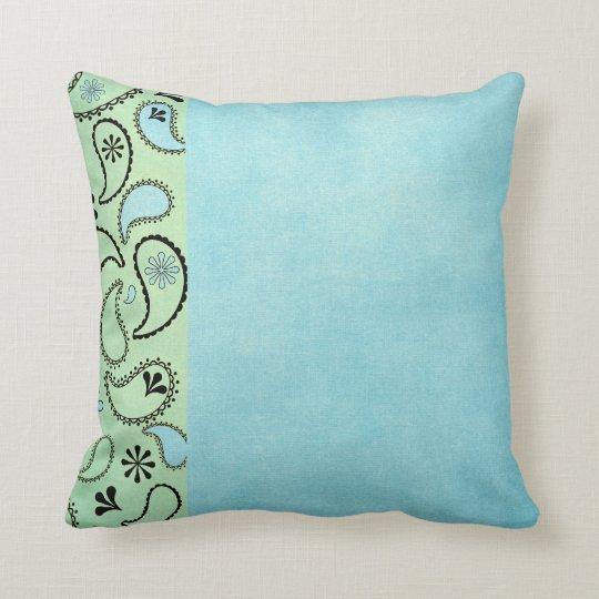 Almohadas azules y amarillas apenadas de Paisley Cojín Decorativo