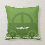 Almohadas de encargo del algodón del coche verde