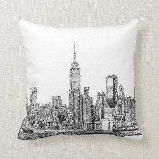 Almohadas de la tinta del horizonte de Nueva York