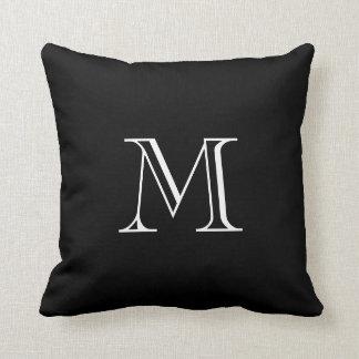 Almohadas de tiro blancos y negros del monograma cojín decorativo
