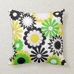 Almohadas de tiro de MoJo, verde, amarillo, flores